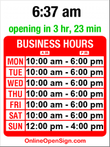 Business hours for Soaring Heart Futons
