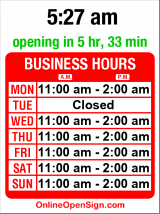 Business hours for Dahlak Eritrean Cuisine