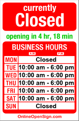 Business hours for JRA Bike Shop