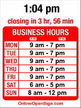 Business hours for Tropical Hut