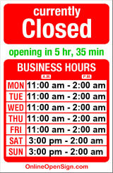 Business hours for Jules Maes Saloon
