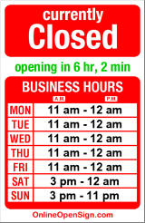 Business hours for Stellar Pizza & Ale