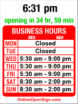 Business hours for Cafe Soleil