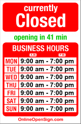 Business hours for Mimi's Bakery