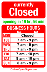 Business hours for Geraldine's Counter
