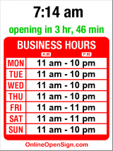 Business hours for Tutta Bella Neapolitan Pizzeria