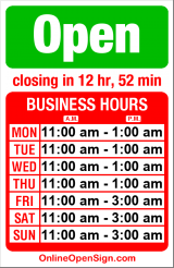 Business hours for Ho Ho Seafood Restaurant