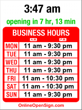 Business hours for Shanghai Garden II