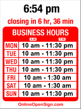 Business hours for Tai Tung Restaurant