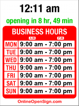 Business hours for Sun Bakery