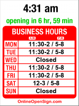 Business hours for Ichiban