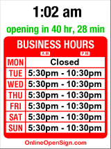Business hours for Maneki