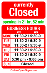 Business hours for Tsukushinbo
