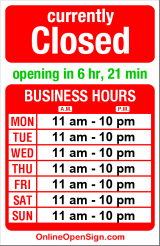 Business hours for Hon's Restaurant