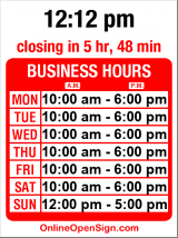 Business hours for Ming's Asian Gallery