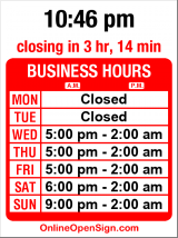 Business hours for Cowgirls Inc
