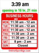 Business hours for Tiki Bob's Cantina