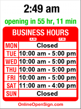 Business hours for National Parks Info & Gallery