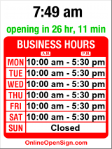 Business hours for Window on the Past
