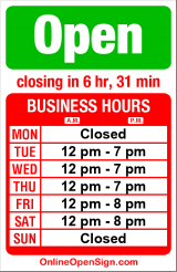 Business hours for Urban Vines