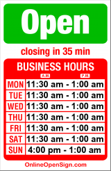 Business hours for The Pink Door