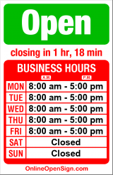 Business hours for Color One