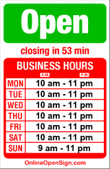 Business hours for New Kowloon Seafood