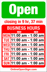 Business hours for V Garden