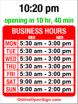 Business hours for Aurora Family Restaurant