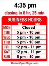 Business hours for Fasica Ethiopian Restaurant