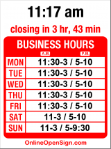 Business hours for Mondello Ristorante Italiano
