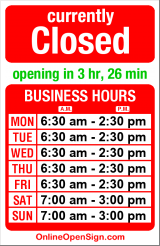 Business hours for The Original Pancake House