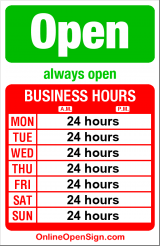 Business hours for Hotel 1000