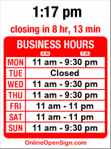 Business hours for Vegetarian Bistro
