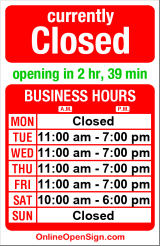 Business hours for Salon Moxi