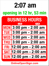 Business hours for Alibi Room