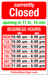 Business hours for Clog Factory