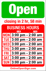 Business hours for Central Saloon
