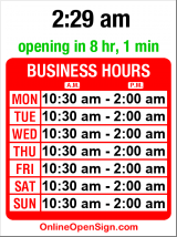 Business hours for J&M Cafe