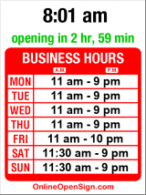 Business hours for Blue Moon Burgers