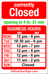 Business hours for Christian Science Reading Room