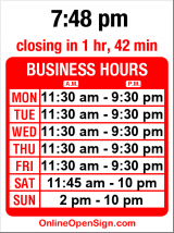 Business hours for Hawaiian Breeze Island Cuisine