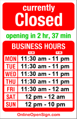 Business hours for Piecora's