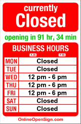 Business hours for Bherd Studios Gallery