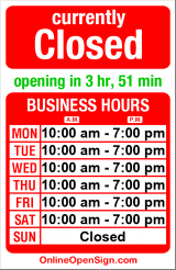 Business hours for Richard's Artistic Framing