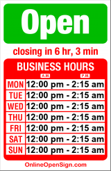 Business hours for Madison Pub