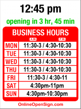 Business hours for Barolo Ristorante