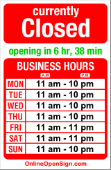 Business hours for Mirch Masala