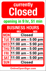 Business hours for Bambu Organic Salon