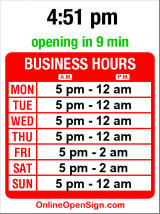 Business hours for 1200 Bistro & Lounge
